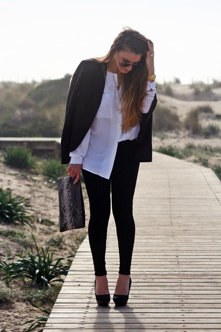 Blazer Bershka Leggins Blanco Clutch Zara