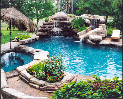 waterfall pool, outdoor pool, hot tub, natural looking pool