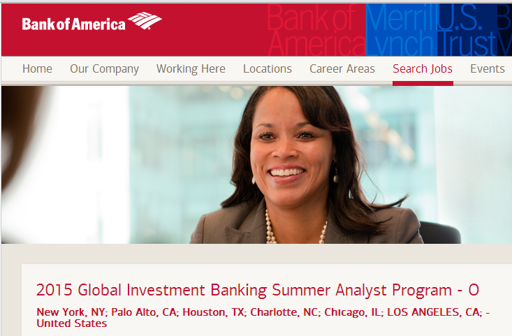 Bank Of America Job and Career in New York 2015