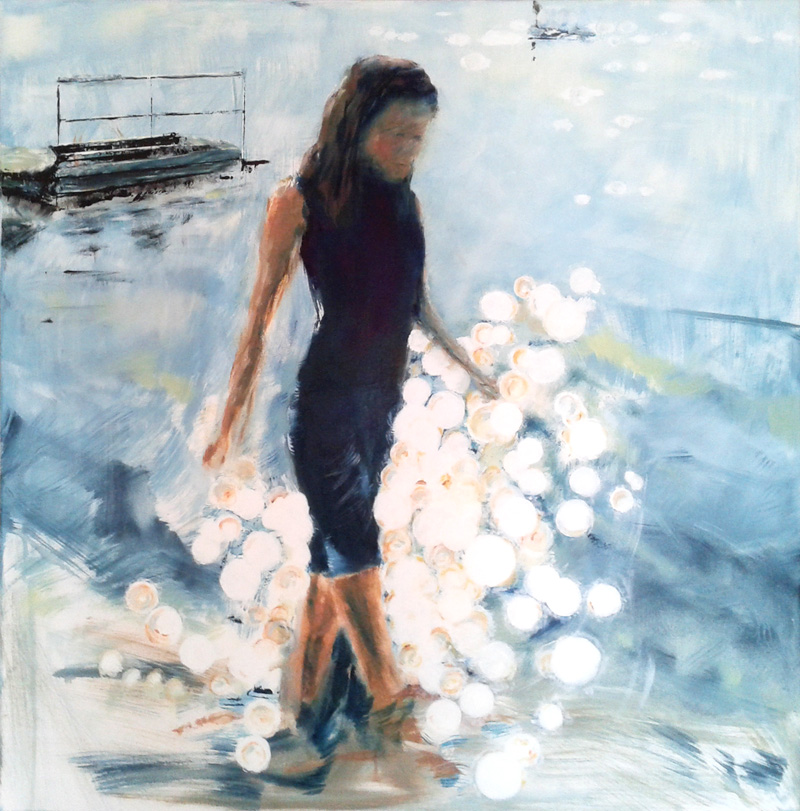 seashore, figural painting, figurative contemporary art, lights on water, waterscape, river, lake, seascape