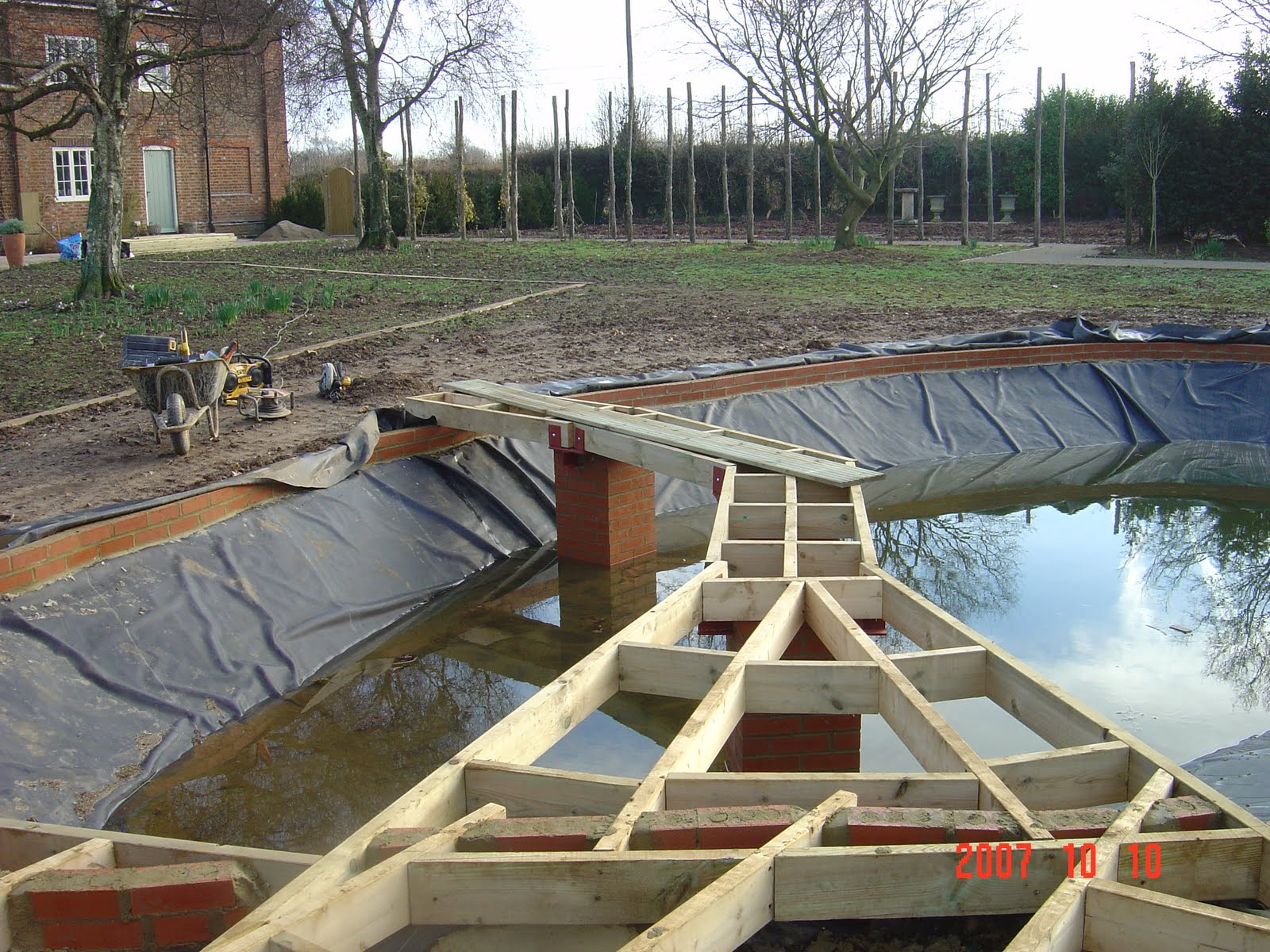 My Work Bricklaying Patios And Building Large Pond With