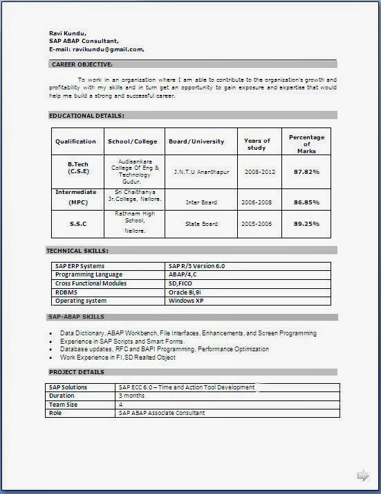 sapabapconsultantresumeformatfreedownload - Free Download For Resume Templates