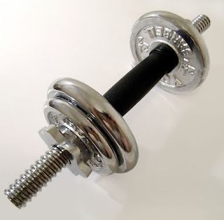 A set of chrome weights on a barbell.