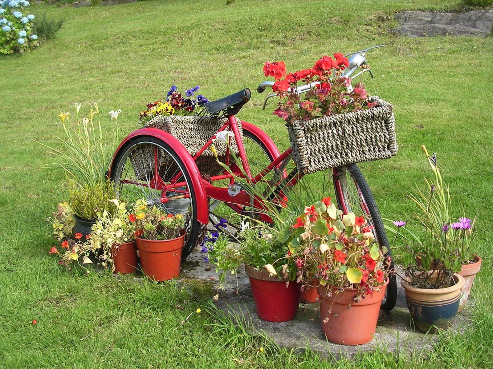 Reno rambler flower bike power for Flower garden ornaments