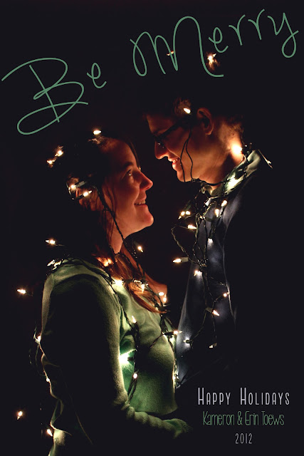 christmas card lights couple married