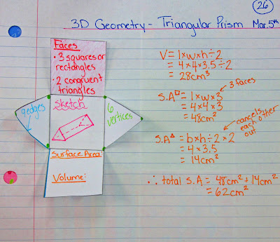 photo of triangular prism surface area and volume math journal entry @ Runde's Room