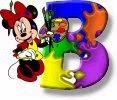 Alfabeto de Minnie Mouse pintando B.