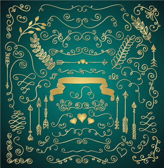 Ornamentos de San Valentín dorados 4 - vector