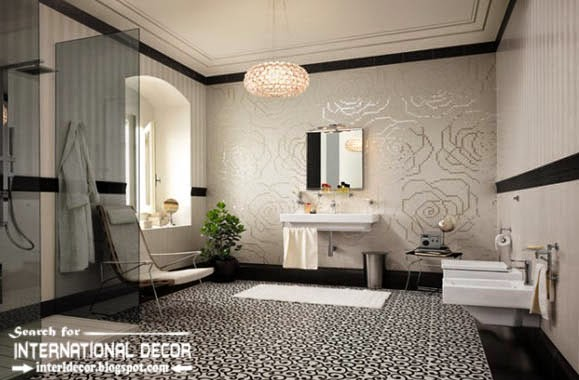 Black and white bathroom design, tiles, furniture, ideas, Italian bathroom