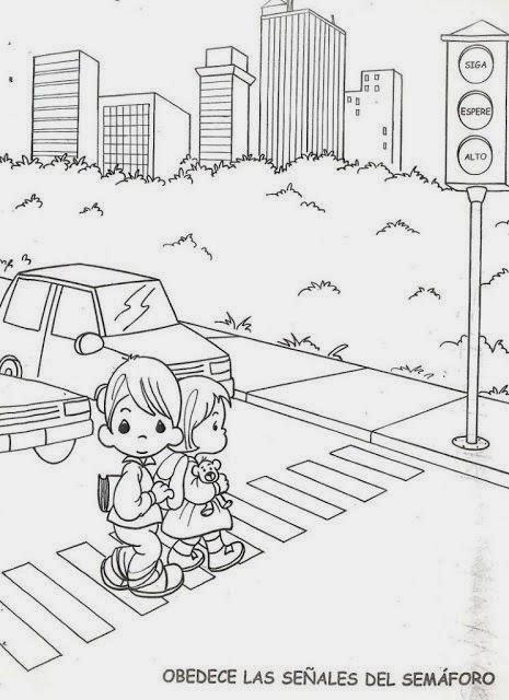 de Infantil: Educación vial. Normas de seguridad vial para colorear