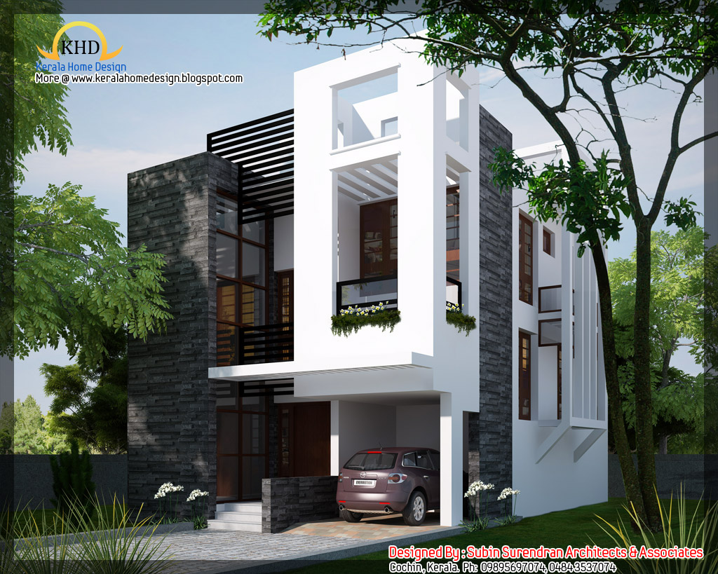 Modern contemporary home 1450 sq ft kerala home for Contemporary house blueprints