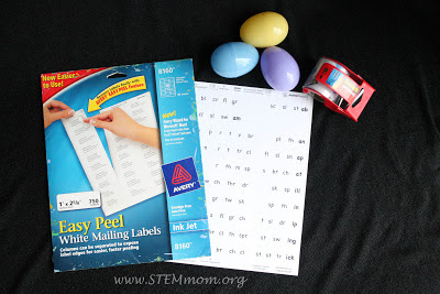 Materials needed for Plastic Egg Word Family Activity: STEMmom.org