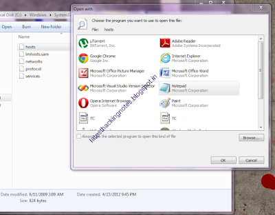 change hosts file in windows 7