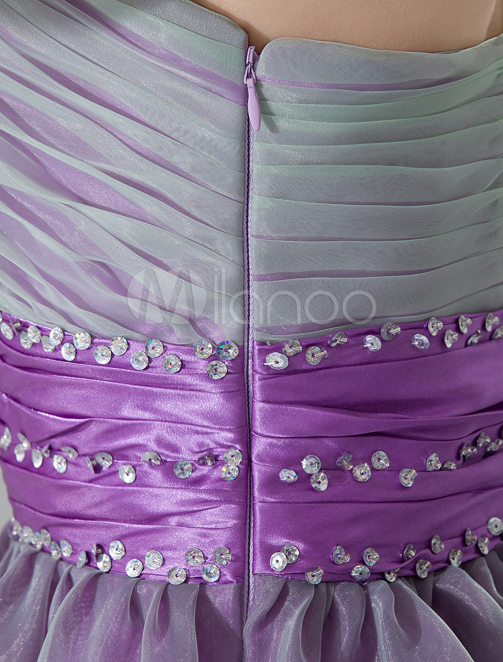 China Wholesale Dresses - Grape Purple One-Shoulder A-line Flower Organza Satin Homecoming Dress
