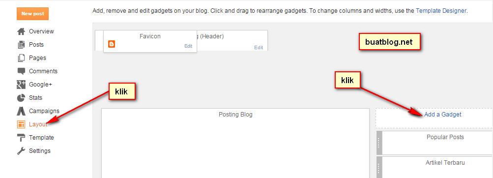 klik layout lalu add a gadget