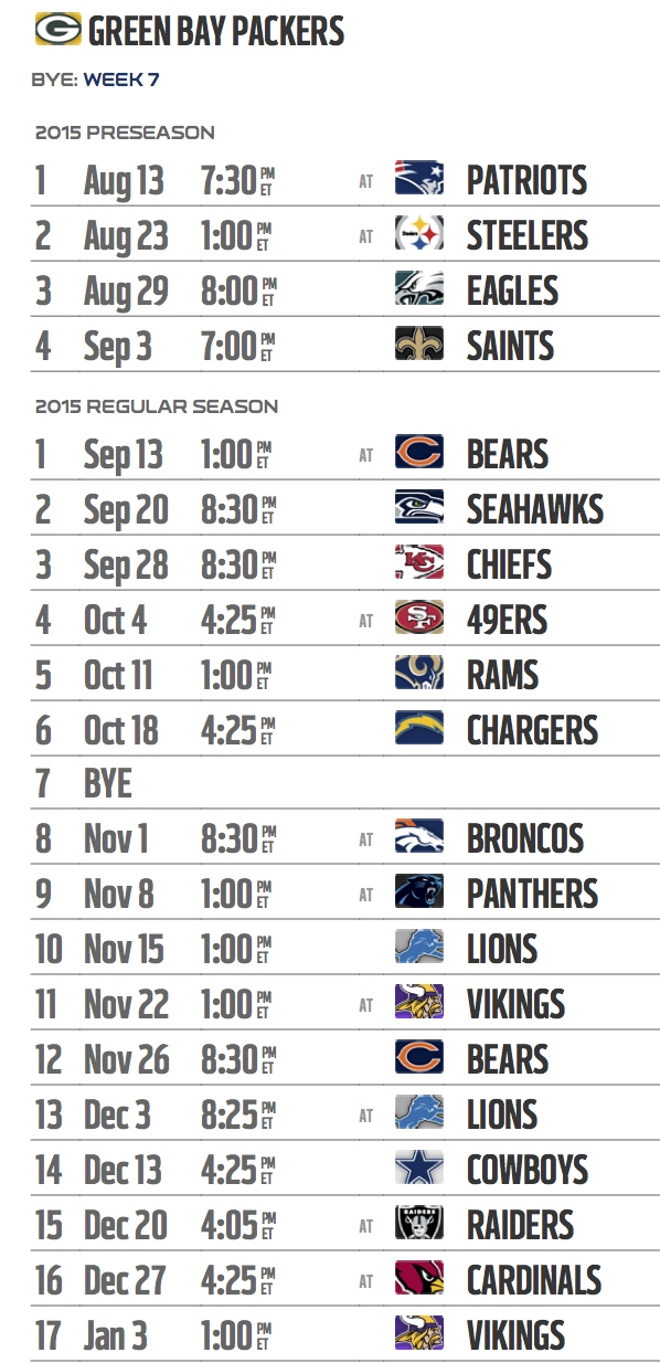 Packers 2015 Schedule