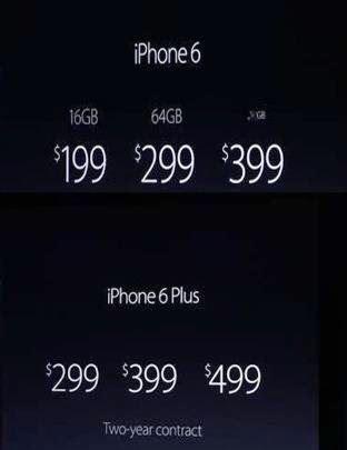 Price: iPhone 6 VS iPhone 6 Plus