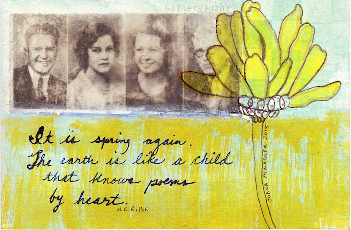 spring heart mail art postcard