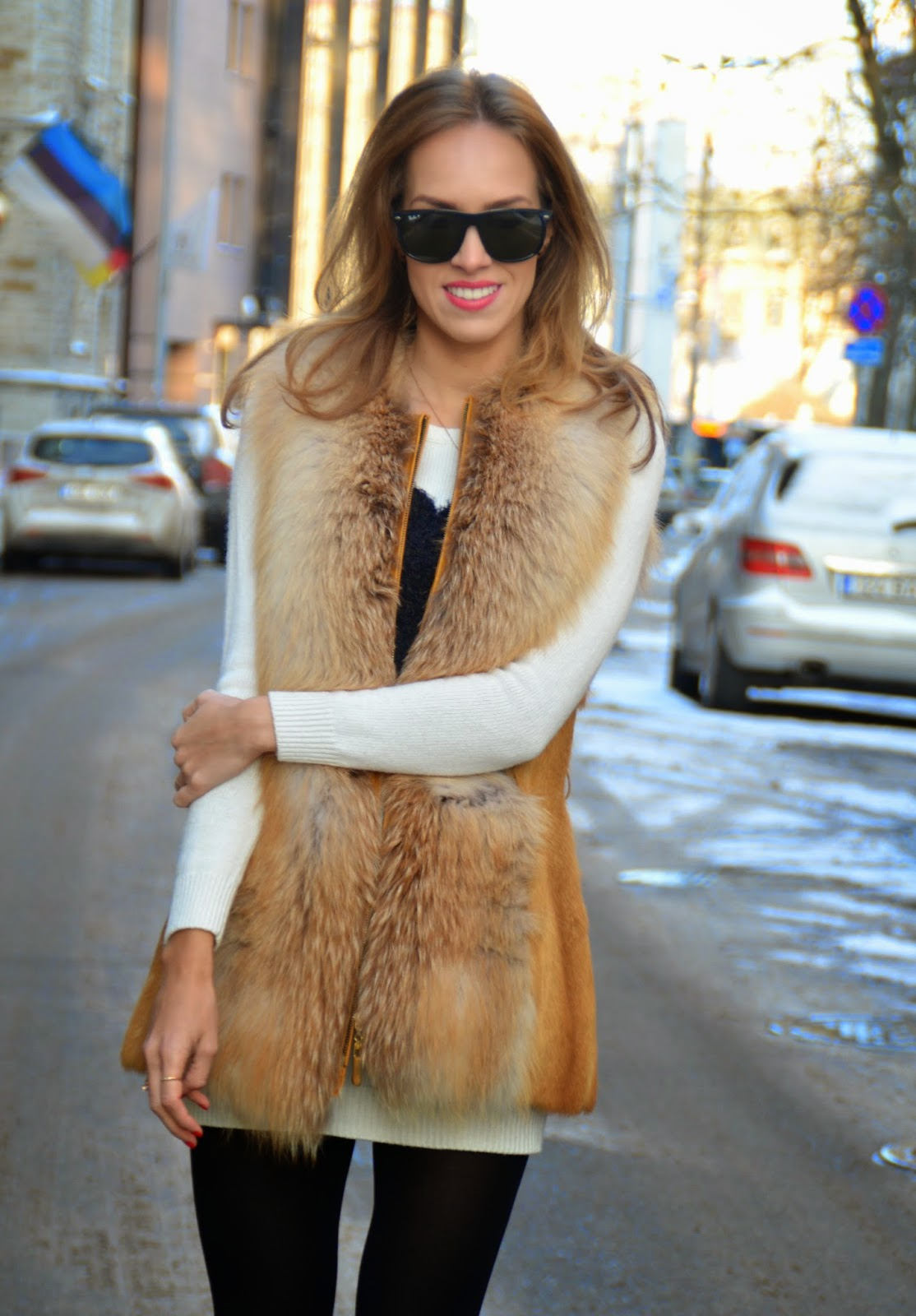 red-fox-fur-vest-white-long-sleeve-mini-dress-outfit kristjaana mere