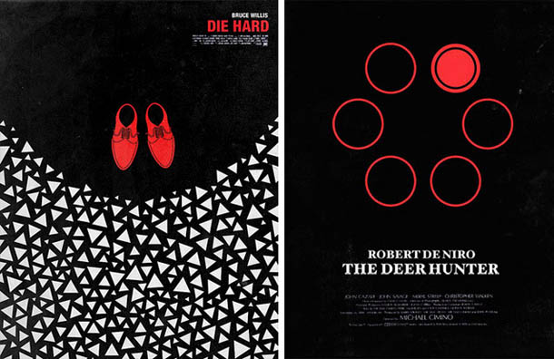 Posters de Cinema minimalistas - Olly Moss - Die Hard - The Deer Hunter
