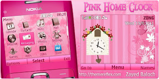 pink home clock c3 by zayedbaloch Download Tema Nokia C3 Gratis
