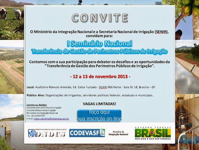 Integração Nacional promove seminário para debater perímetros públicos de irrigação