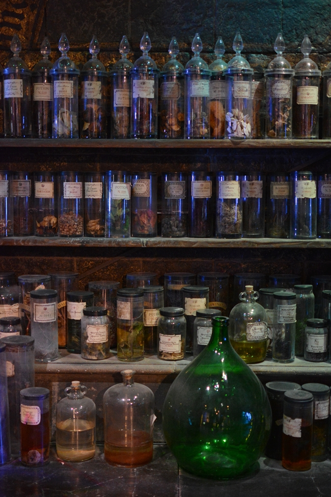 Potion bottles in the classroom at Hogwarts