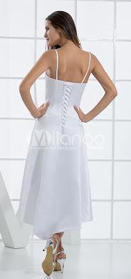 White A-ligne de robe de mariée en satin Spaghetti