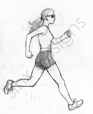 girl running jogging in profile