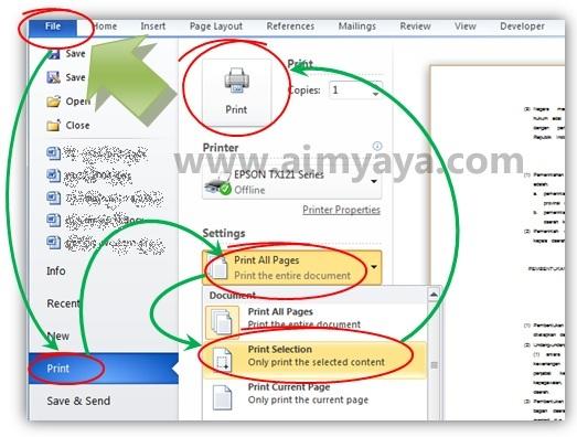 Gambar: Mencetak sebagian dokumen (selection) dari Microsoft Word 2010