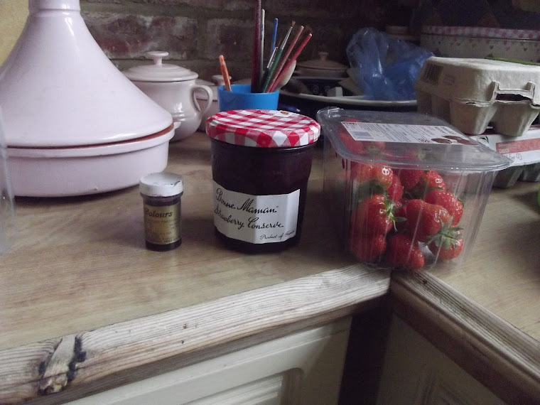 rugby sugar flair,strawberry jam and ,fresh strawberrys.