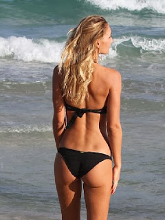 English: Petra Benova black bikini Miami, FL, USA