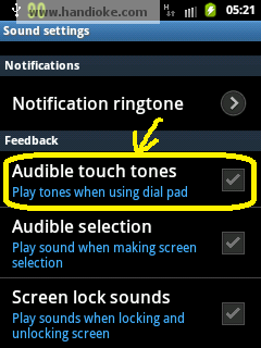 Audible touch tones (check/Uncheck)