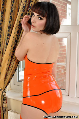 Sexy ass in all orange latex
