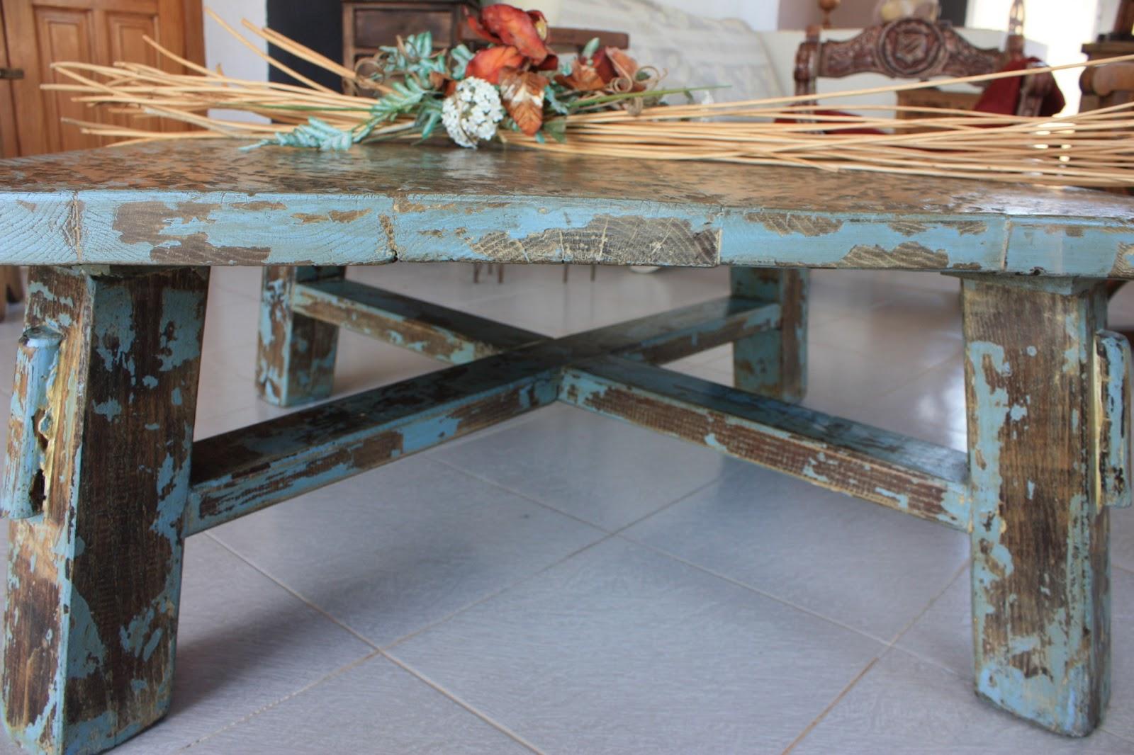Mesa de centro terraza de campo rusticalia decoracion for Mesas de madera bar
