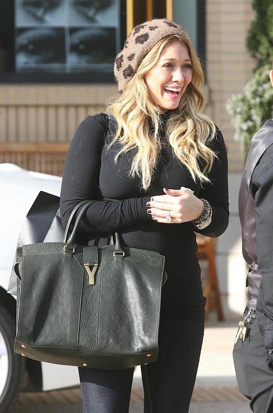 Celebrity Fashion Designer Handbags : Hilary Duff YSL Cabas Chyc ...