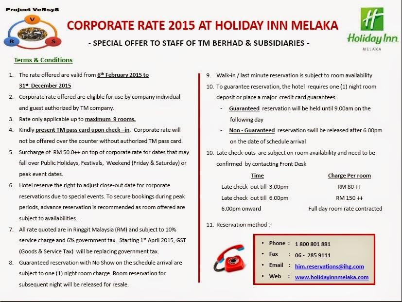 Holiday Inn Melaka Corporate Rates for TM Staff 2015
