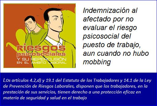 MobbingMadrid Indemnización por no evaluar el riesgo psicosocial del puesto de trabajo, aun cuando no hubo mobbing