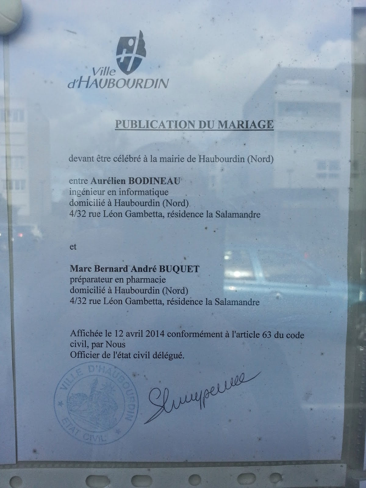 Aur lien marc 30 mai 2014 publication des bans - Publication banc mariage ...