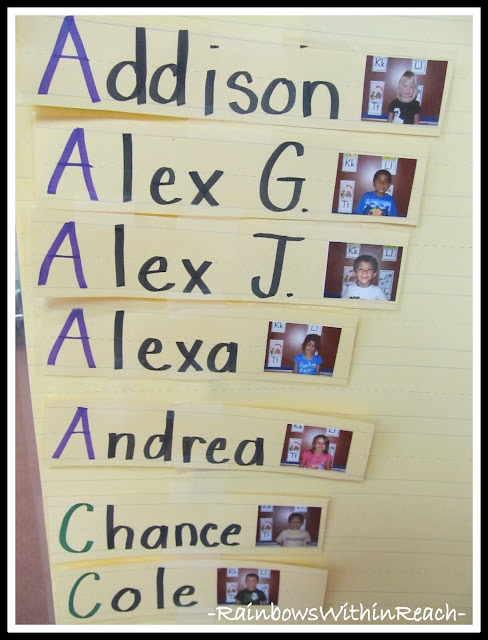 photo of: Kindergarten Classroom Name Chart, Alphabetized with Photographs