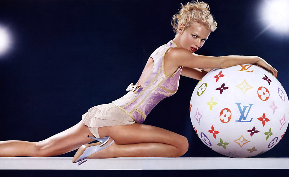 Eva Herzigova wearing one of THE dresses photographed by Mert Alas & Marcus Piggott for Louis Vuitton Spring/Summer 2003 campaign featuring Takashi Murakami's Monogram Multicolore design via fashioned by love british fashion blog