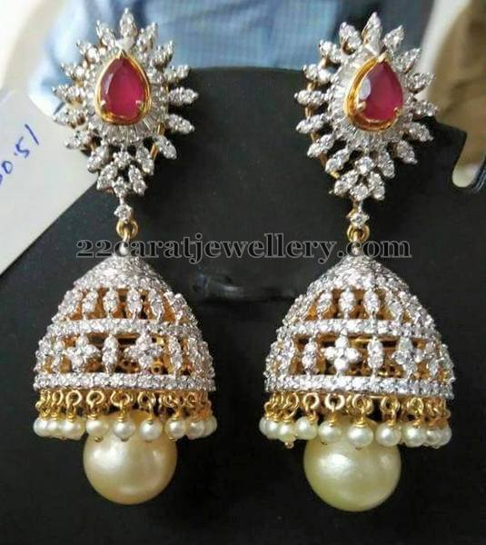 Bridal Diamond Set Matching Jhumkas
