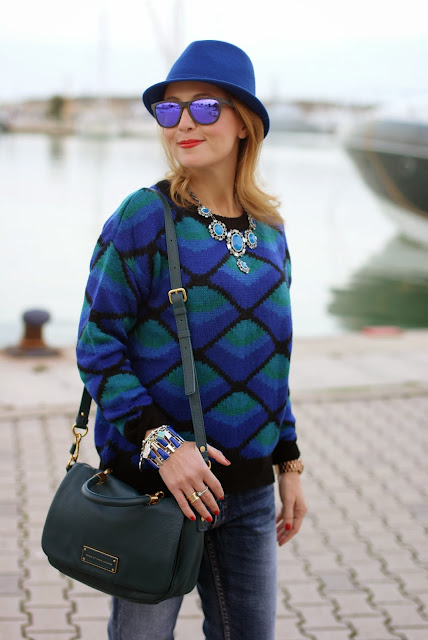 Zara statement necklace, casual cobalt outfit, Marc by Marc Jacobs too hot to handle peacock, Fashion and Cookies, fashion blogger