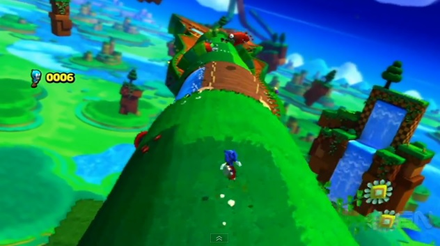 Screenshot of Windy Hill level in Wii U version of Sonic: Lost Worlds