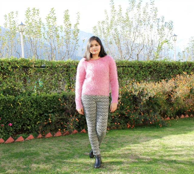 Fuzzy Pink Jumper and Baroque Pants