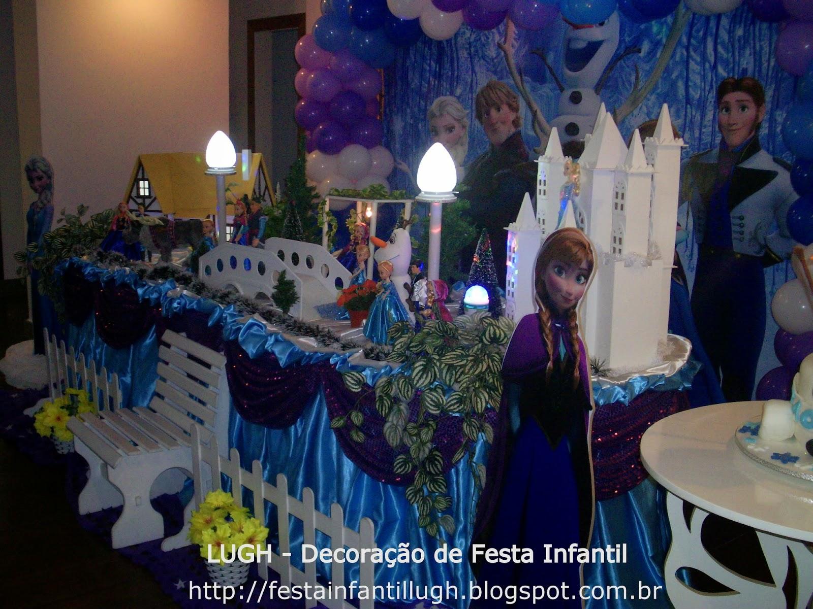 Decoração de festa de aniversário infantil para meninas com o tema Frozen