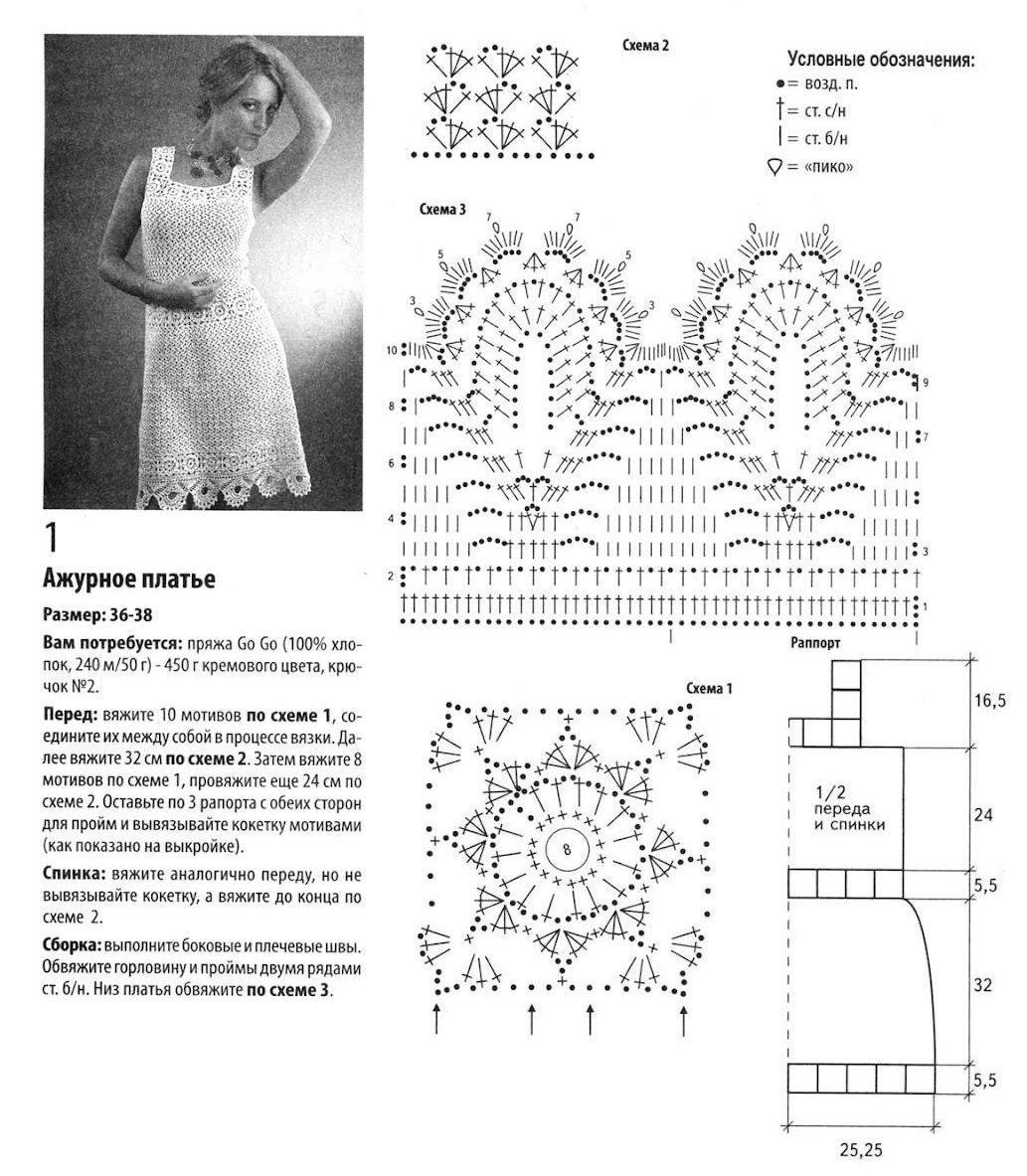 Вязание ажурных платьев спицами со схемами 849