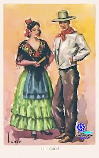 Traje típico de Cádiz - Editorial Artigas 1940 - Diseño: Tuser