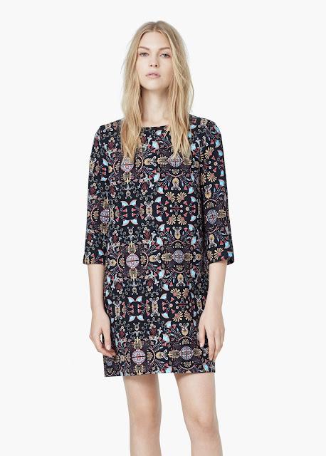 mango black pattern dress, printed multi dress,