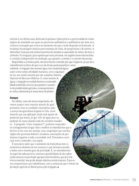 Irrigação: Inclusão de pessoas, arranjos e meio ambiente - Fonte: Máquinas & Inovações Agrícolas